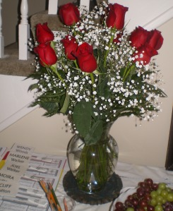 Mary Minaudo sent her regrets and this beautiful bouquet of roses-my favourite flower!
