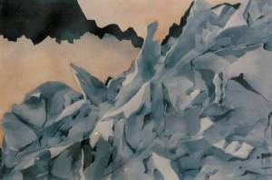 Life Series # 1, Rocky Crag. Watercolour. Copyright 2009 Nellie Jacobs